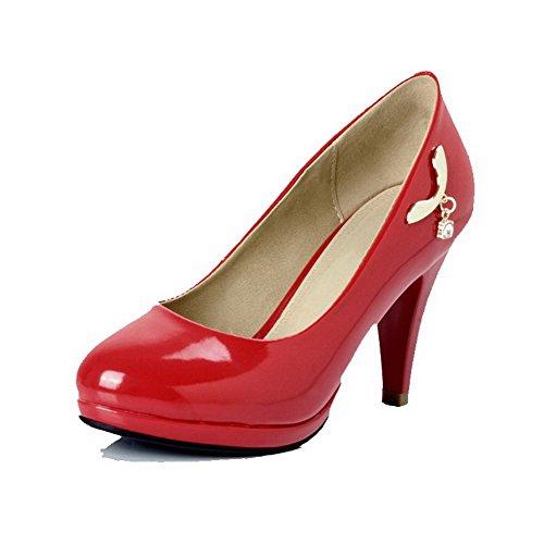 AllhqFashion Mujer Pu Tachonado Sin cordones Puntera Cerrada Puntera Redonda Tacón Alto De salón Rojo
