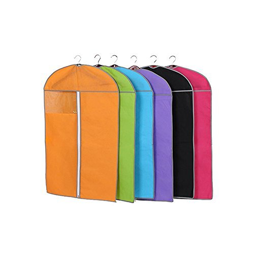 Garment Bags for Storage,Set of 6 Multiple Color Non Woven Fabric Breathable Garment Covers, Window for Viewing, Anti-Moth Protector Dust Cover Storage Bag Case for Clothes 23.6 x 39.4