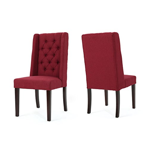 Christopher Knight Home 302095 Blythe Tufted Deep Red Fabric Dining Chairs (Set of 2), Brown (Chair Dining Red)
