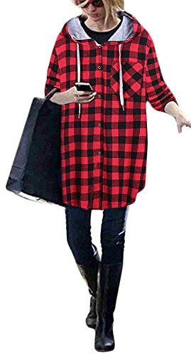Chaquetas Elegantes Cuadros Basicas Suelto Con Woman Sudaderas Cárdigans Camisas Bolsillos Casual Oversize Encapuchado Manga Capucha Parejas A Mujeres Rojo Otoño Juvenil Grandes Tallas Larga qXv7Rw