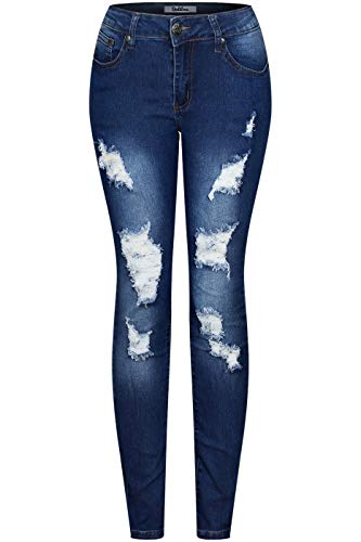2LUV Women's Stretchy 5 Pocket Destroyed Medium Denim Skinny Jeans Blue Faded ()