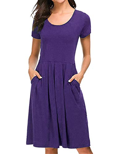 (Fanfly Women Short Sleeve Pleated Loose Swing Casual T Shirt Dress with Pockets Knee Length Grape Purple)
