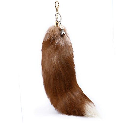 omlopp Coffee Bags Beautiful Fashion Fox Tail Fur Garments Key Pendant 15in - 18in Around -
