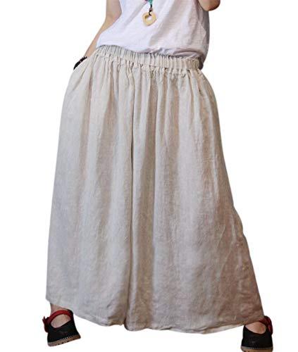 YESNO Women Plus Size 100% Linen Wide Leg Elastic Waist Casual Loose Cropped Pants/Pockets PLW (Typ1-Medium-Hemp, One Size (XL-3XL))