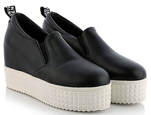Shoes Hidden On Black Wedge Top Slip Low Platform IDIFU Heel Womens Comfy Sneakers Elastic tZqw07