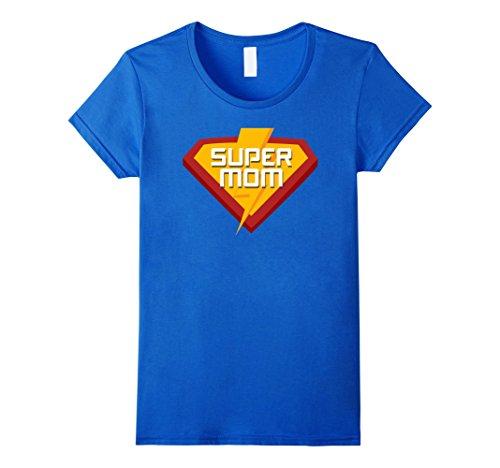 Womens Superhero SUPER MOM T Shirt for Mom Life Women Funny Costume Large Royal (Female Super Heroes)