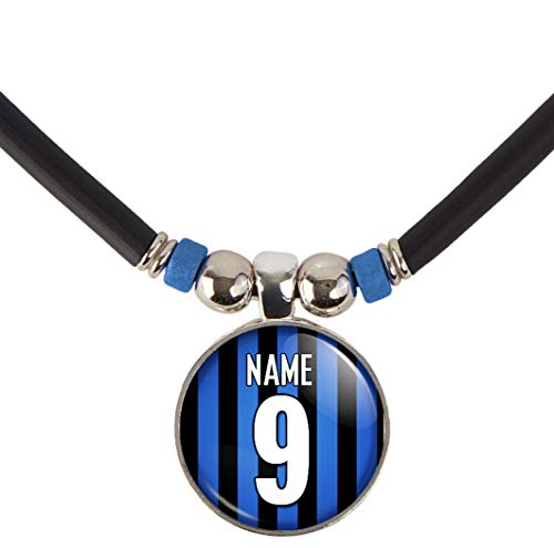 SpotlightJewels Inter Milan Soccer Jersey Necklace Personalized with Your Name and Number, PERSONALIZE BY EMAIL ()