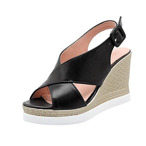 Carolbar Para Mujer Peep Toe Slingback Plataforma De Moda Fecha Hebilla Sandalias Casuales Sandalias Negro