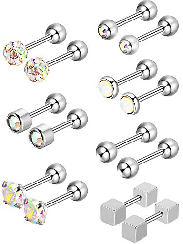Jovitec 7 Pairs Round Ball Stud Stainless Steel Barbell for sale  Delivered anywhere in USA
