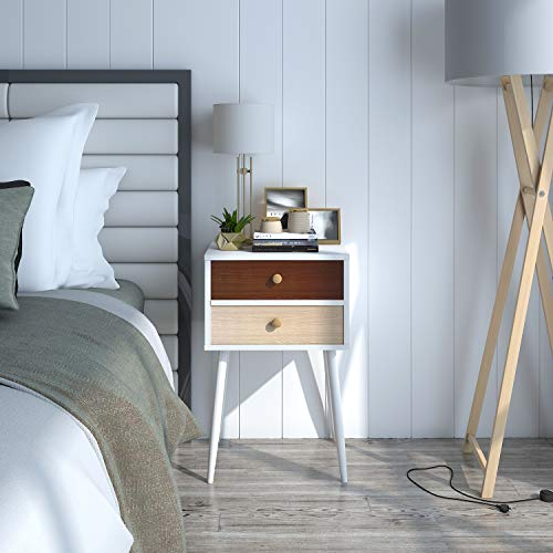 Lifewit White Nightstand with 2 Fabric Drawers, Bedside Table Bedroom Side Table, Modern Accent Table, Sturdy and Easy Assembly, 15.7 × 11.7 × 24.4 in ()