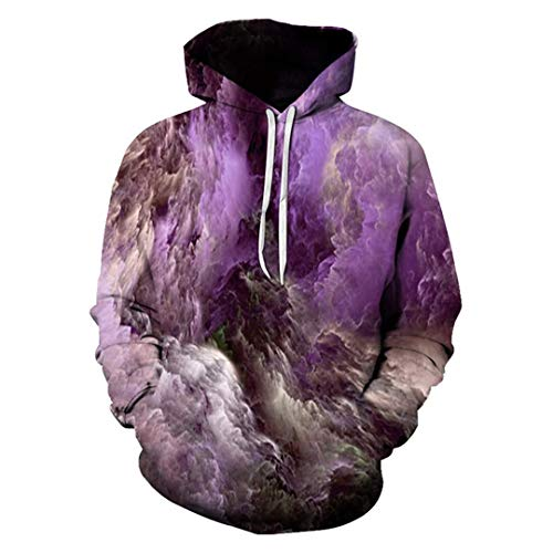 Men Women Casual Cool 3D Print ed Purple Dream Clouds Sweatshirts Harajuku Hooded Pullovers Outdoor Sport Outwear Tops XL