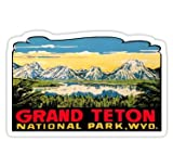 Grand Teton National Park Vintage Travel Decal 2 - Sticker Graphic 5'' Wide Fishing Bass American Travel Sticker Bumper Wall Luggage Decal Sticker