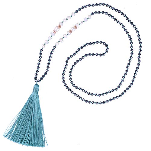 KELITCH Long Tassel Necklace Handmade Shell Pearl Crystal Beads Necklace Fashion Women Jewelry(Light Green 2)