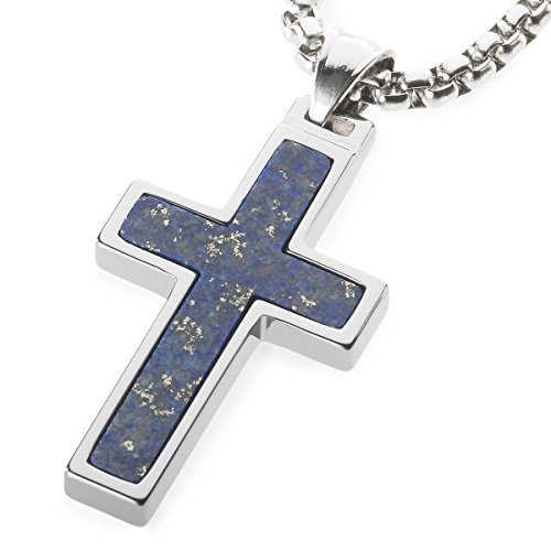 Lazuli Inlay Tungsten Cross Pendant. 4mm wide Surgical Stainless Steel Box Chain. 22 Inch Length (Stainless Steel Tungsten Cross)
