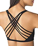 QUEENIEKE Womens Yoga Sport Bra Light Support Strappy Free to Be Bra Size S Color Top Black Across
