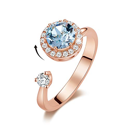 (CDE Birthstone Rings for Women Rose Gold Plated Embellished with Crystals from Swarovksi Open Expandable Design Fit Size for 6-8, Gift for Mothers Day )