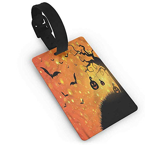 Personalized Halloween,Fantasy Evil Night Icons One Size Portable Label]()