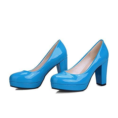 VogueZone009 Damen Blend-Materialien Hoher Absatz Rund Zehe Rein Ziehen auf Pumps Schuhe Blau