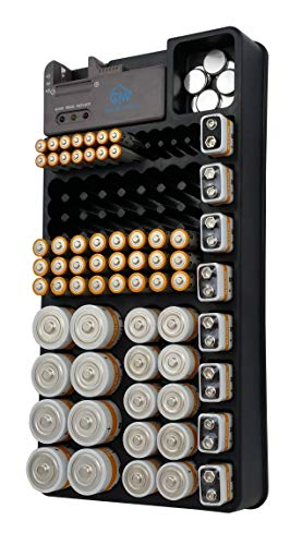 The Best Battery Organizer | Holds 110+ Batteries | Includes Battery Tester | Battery Storage Organizer | Fits AA AAA C D and 9 Volt Batteries | Excellent Battery Organizer and Tester