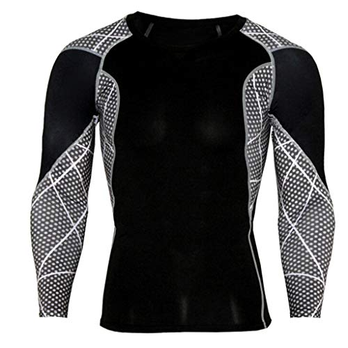 Wintialy Men Workout Leggings Fitness Sports Gym Running Yoga Athletic Shirt Top Blouse Black