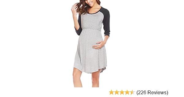 Ekouaer Women s Maternity Dress Nursing Nightgown for Breastfeeding  Nightshirt Sleepwear S-XL at Amazon Women s Clothing store  e6113a1e14d6