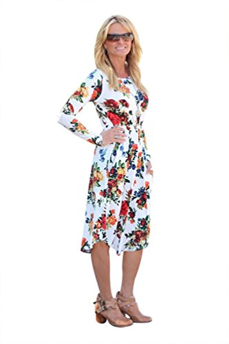 DAYSOFT Women Crew Neck Long Sleeve Empire Waist Floral Print A-line Casual Swing Midi Dress with Pockets (M, White)