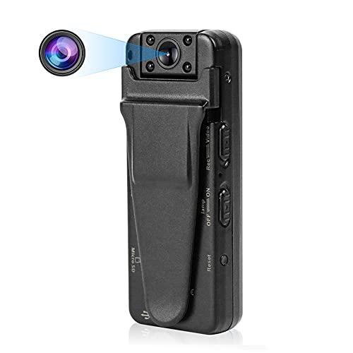 DEXILIO Mini Wearable Body Camera , 1080P Portable Small Camcorder with Night Vision/Motion Detection, Micro Security Surveillance Camera for Indoor and Outdoor,with 32GB Card(No WiFi)