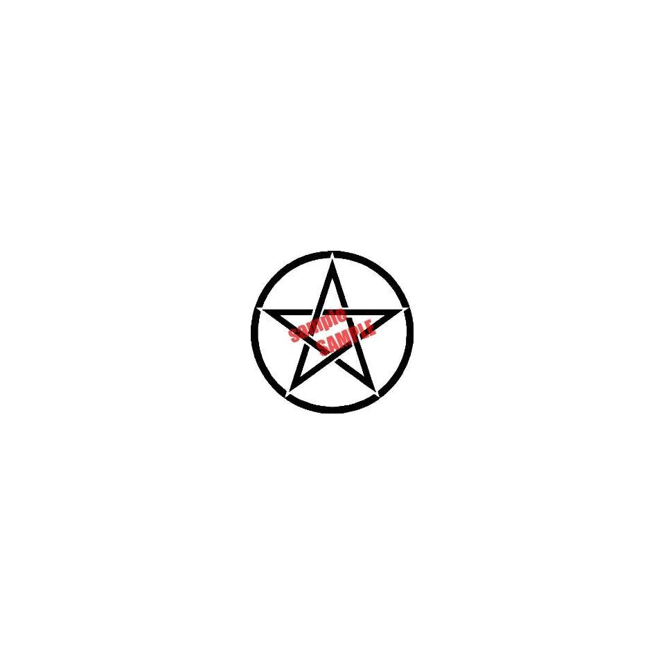 STAR CIRCLE OUTLINE WHITE VINYL DECAL STICKER