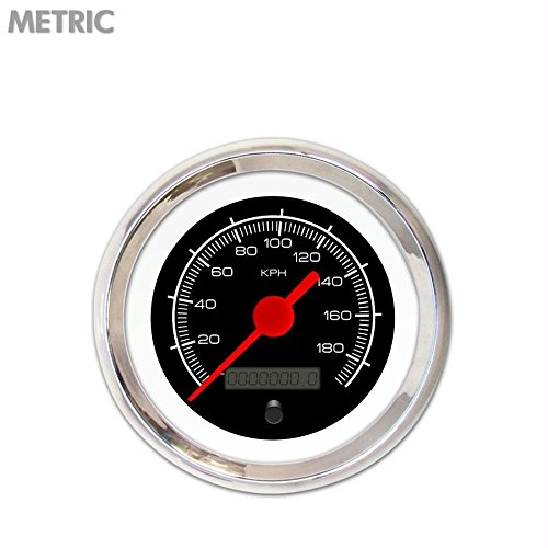 Red Vintage Needles, Chrome Trim Rings, Style Kit Installed Aurora Instruments 4742 Competition Black Metric Speedometer Gauge