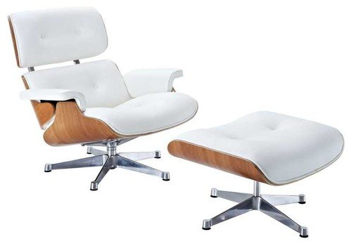 - Mid Century Modern Classic Plywood Design Replica ASH Wood White Premium Top Grain Real Leather Lounge Chair & Ottoman