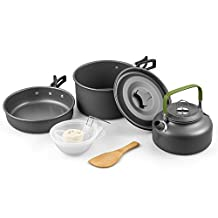 Terra Hiker Camping Cookware, Nonstick & Lightweight Pots & Pans with Mesh Set Bag for Backpacking, Hiking, Picnic