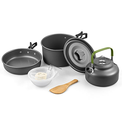 Lightweight Cookware (Terra Hiker Camping Cookware, Nonstick, Lightweight Pots, Pans with Mesh Set Bag for Backpacking, Hiking, Picnic)