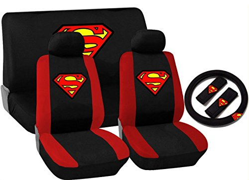 11 Piece Black and Red Superman Logo Seat Cover Set for Ford Cars, 2 Front Seats - Rear Bench - Steering Wheel Cover - Shoulder Pads (Superman Seat Covers For Cars compare prices)