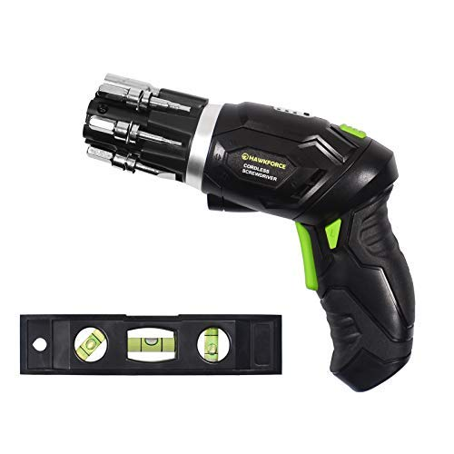 HAWKFORCE Power Screwdriver, 3.6V Electric Screwdriver - Flexible Pivoting Head - Adjustable 2 Position Handle - Front LED Light Cordless Screwdriver with Bubble Level
