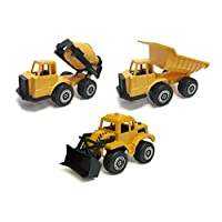 Hunson Hard Hat Kidz 3 Piece Set Construction Toy Vehicles (Bulldozer, Cement Truck, Dump Truck)