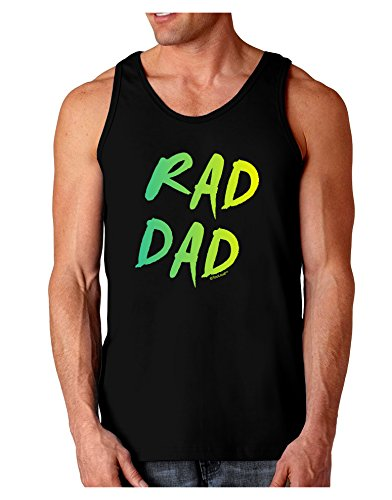 TooLoud Rad Dad Design - 80s Neon Dark Loose Tank Top - Black - XL (80s Outfits For Sale)
