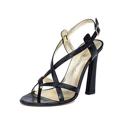 DSQUARED2 Women Black Snake Embossed Leather Toe Ring High Heel Sandals Shoes US 7 EU 37