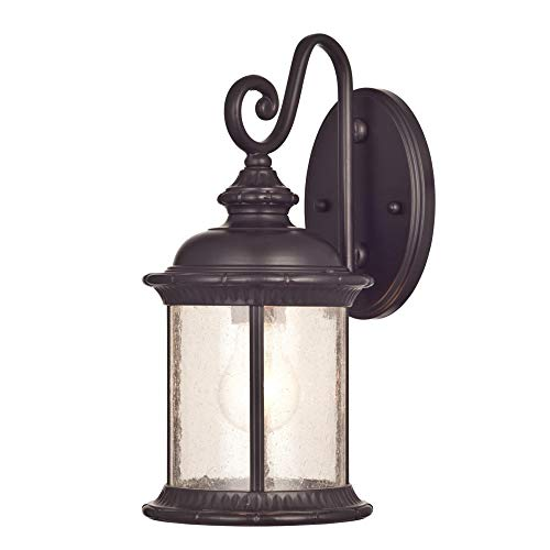 Premium Pack 6230600 New Haven One-Light Exterior Wall Lantern on Steel with Clear Seeded Glass, Oil Rubbed Bronze Finish