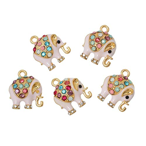 Max Corner Elephant Pendant Charm, 5 Pcs Rhinestone Gold Color Charms for Necklace Bracelet Anklet Jewelry Accessories Supply ()
