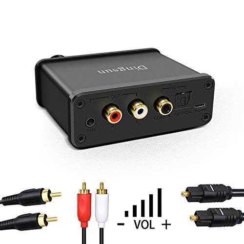 Digital to Analog Audio Converter, Optical to RCA Converter Adapter with Toslink Optical Cable, Coaxial Cable, Volume Control Compatible for Xbox DVD Blu-ray PS3 PS4 (with Volume Control)
