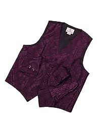 YGA1B03 Mens Vest Pattern Wedding Gift Tie Cufflinks Hanky Bowtie By Y&G