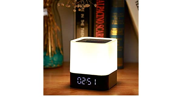 5W Reloj despertador digital Táctil inalámbrico Noche LED Luz Bluetooth Altavoz LED Lámpara colorida de noche: Amazon.es: Iluminación