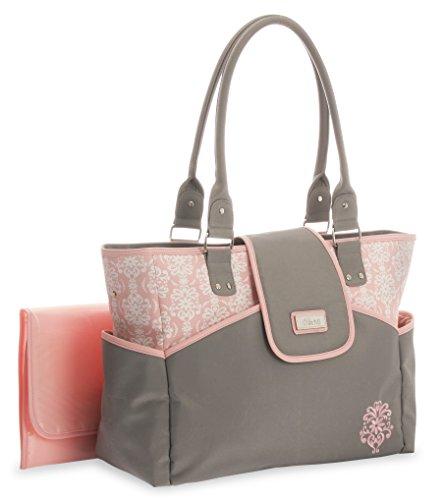 Little Me Damask Print Fashion Tote Diaper Bag, Grey