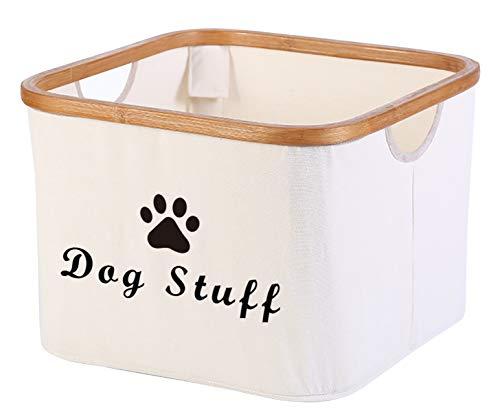 Storage Organizers with Bamboo Rim – Perfect for Organizing Dog Apparel & Accessories Storage, Dog Shirts, Dog Coats, Dog Toys, Dog Clothing, Dog Dresses, Gift Baskets -Beige