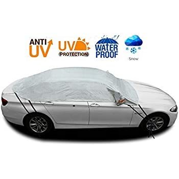 Universial Car Windscreen Frost Snow Cover by MASO Outdoor Half Car Cover All Weather Auto Waterproof Resistant Sun UV Snow Rain Dust Protector Navy Blue