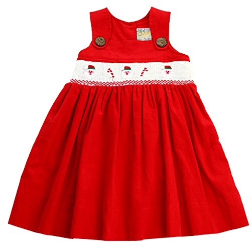 SISSYMINI Santa Claus and Candy Cane Hand Smocked Tinsel Jumper Corduroy Dress - (2T,3T,4T) (Red Santa Claus, 3T) Soft Corduroy Jumper