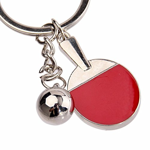 Love Tennis Key Ring (Iuhan Fashion Metal Bead Decor Red Table Tennis Pendant Keyring Keychain)