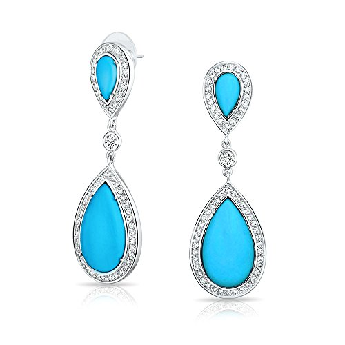 Blue Pear Shaped CZ Halo Simulated Turquoise Statement Dangle Chandelier Teardrop Earrings For Women Silver Plated