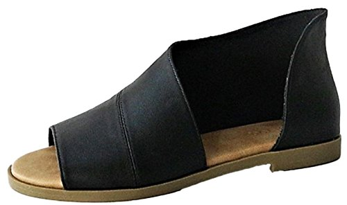 Bb Hippie-05m Donna Dorsay Slip On Open Toe Taglio Estremo Stivaletto Alla Caviglia Piatto Nero Nero