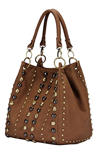 Scarleton Studded Style Handbag H120104 - Brown